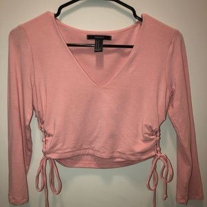 Long sleeve Pink Crop Top